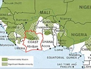 Cote d'Ivoire Ivory Coast Religion Map