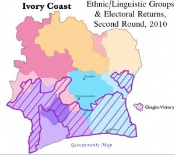 Côte d'Ivoire Ivory Coast Election Ethnic Groups Second Round 2010 Map