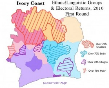 Côte d'Ivoire Ivory Coast 2010 Election Ethnic Group Map