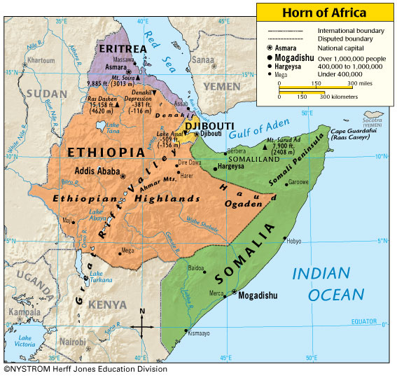 horn of africa map djibouti