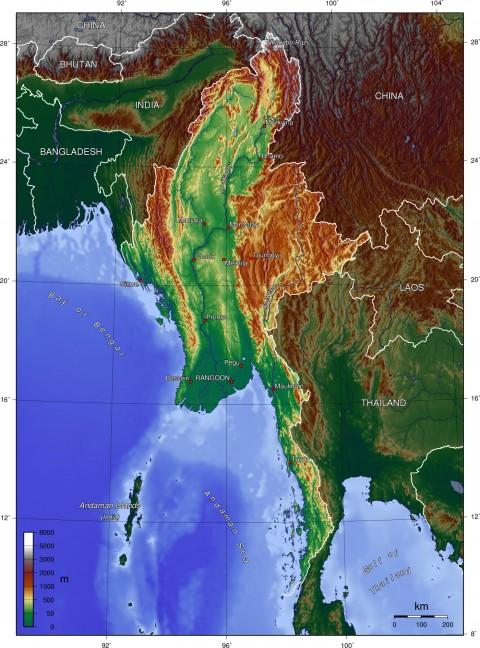 Myanmar Burma Topgraphy