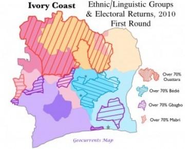 Côte d'Ivoire Ivory Coast 2010 Election Ethnic Group Map