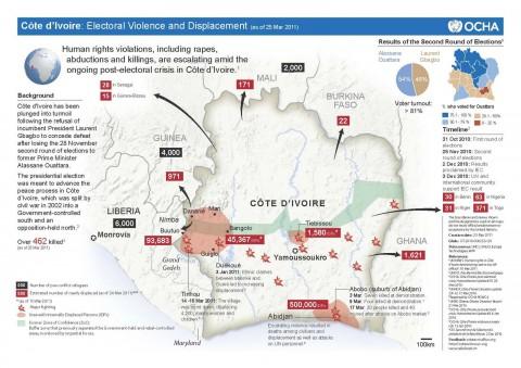 Côte d'Ivoire Population Electoral Violence Displacement
